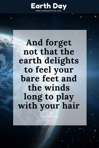 Earth Day Quote : And forget not that the earth delights to feel your bare feet and the winds long to play with your hair