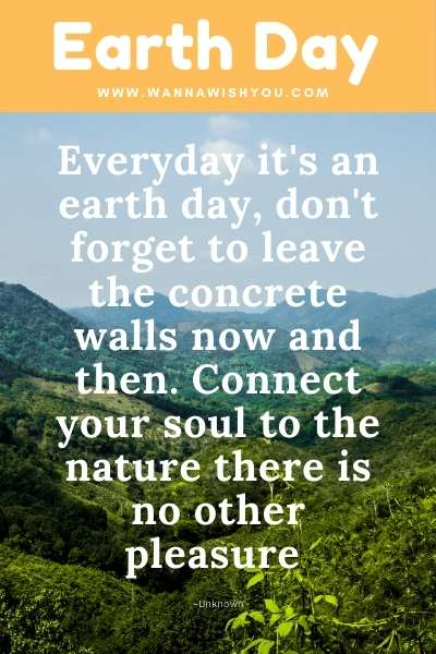 Earth Day Quotes : Everyday it's an earth day, don't forget to leave the concrete walls now and then. Connect your soul to the nature there is no other pleasure