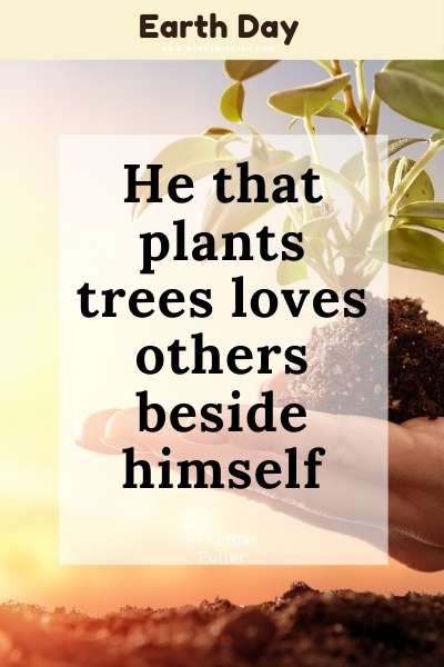 Earth Day Quote : He that plants trees loves others beside himself