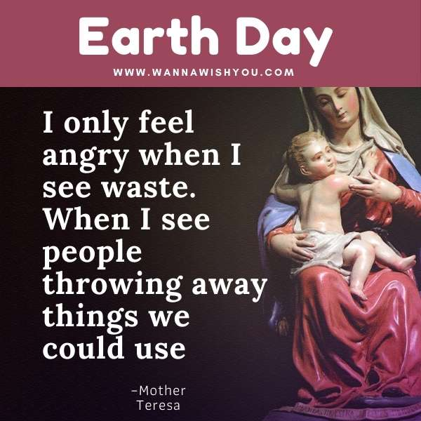 Earth Day Quotes : I only feel angry when I see waste. When I see people throwing away things we could use