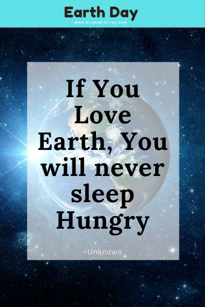 Earth Day Quote : If You Love Earth, You will never sleep Hungry