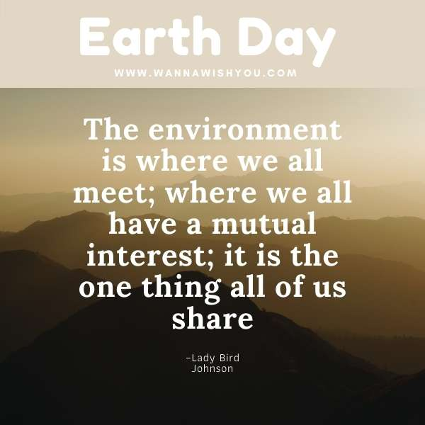 Earth Day Quotes : The environment is where we all meet; where we all have a mutual interest; it is the one thing all of us share